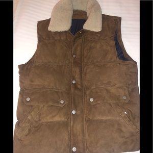 Eleventy Men's Brown Suede Vest Size 52/L